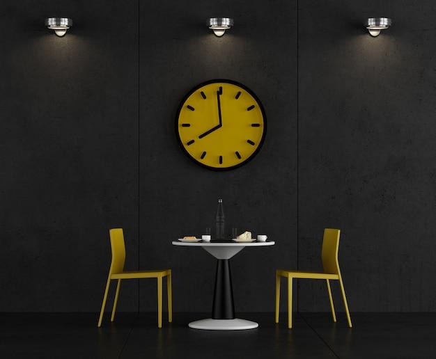 Czarno-żółta kawiarnia