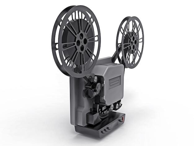 Czarny 3d projektor filmowy kinowy na białym tle. renderowania 3d.