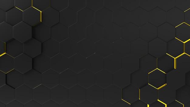 Czarny abstrakcjonistyczny tło sześciokąta wzór z lekkimi promieniami.