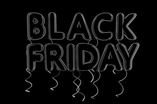 Czarny balon czarny znak piątek na czarnym tle. renderowanie 3d