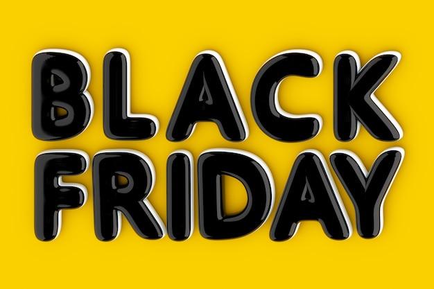 Czarny balon czarny znak piątek na żółtym tle. renderowanie 3d