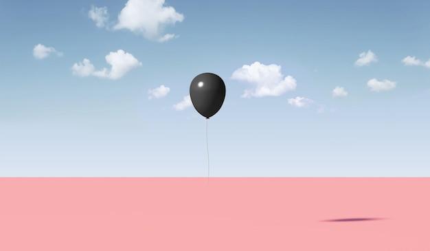 Czarny balon na tle modnej natury minimalizmu