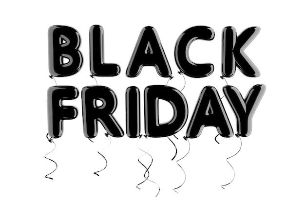 Czarny balonik czarny piątek znak na białym tle. renderowanie 3d