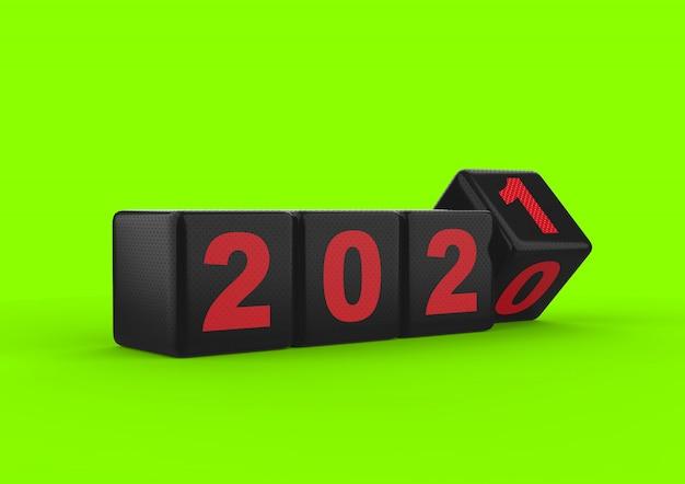 Czarny błyszczący sześcian szczęśliwego nowego roku 2021 z kropką tekstury zielony ekran na białym tle