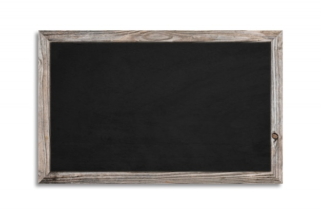 Czarny chalkboard na białym tle i drewniana rama z ścinek ścieżką. promocja i szczegóły