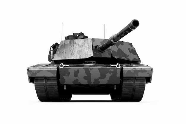 Czarny ciężki czołg wojskowy w kamuflażu na białym tle