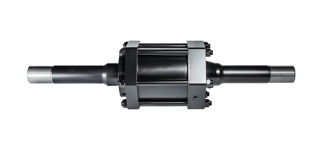 Czarny cylinder hydrauliczny pompa na białym na białym tle