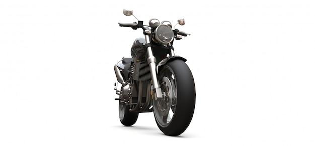 Czarny dwumiejscowy motocykl miejski. renderowania 3d.