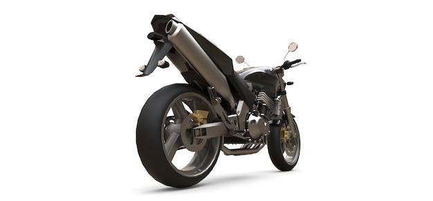 Czarny dwumiejscowy motocykl miejski sport na białym tle. ilustracja 3d.