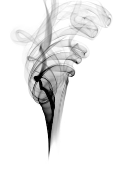 Czarny dym na białym tle
