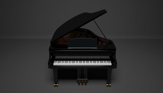 Czarny fortepian gard na ciemnym tle, ilustracja 3d