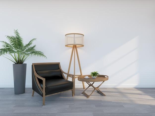 Czarny fotel z lampą podłogową. renderowanie 3d