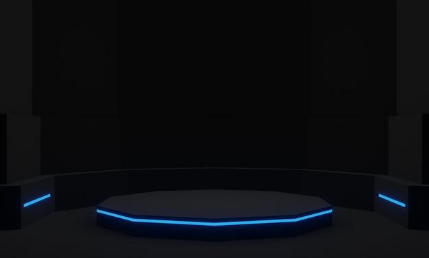 Czarny futurystyczny stojak z niebieskimi neonami naukowymi podium