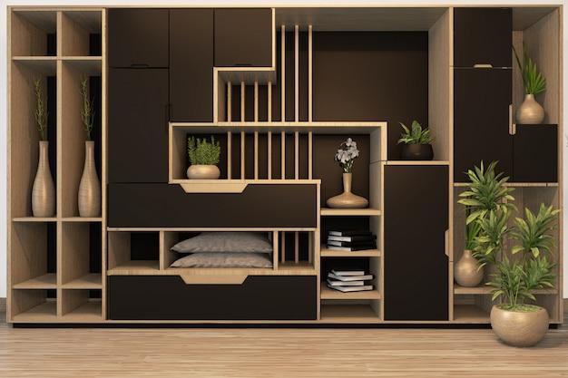 Czarny gabinet mix półka szafa drewniana japońska styl i rośliny ozdobne na półce. renderowania 3d