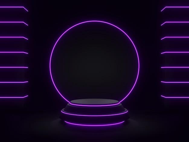 Czarny, geometryczny stojak na produkty 3d renderowany z fioletowym światłem neonowym
