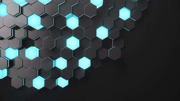 Czarny geometryczny sześciokątny streszczenie