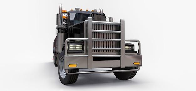 Czarny holownik do przewozu innych dużych ciężarówek lub różnych ciężkich maszyn
