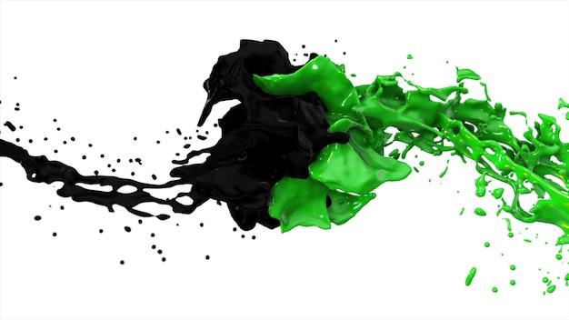 Czarny i zielony płyn zderzają się, krople bryzgają latać na boki na na białym tle