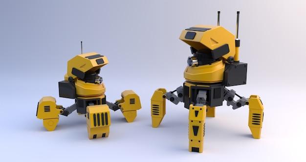 Czarny i żółty stylowy robotic drapieżnik pająk. 3d odpłacają się
