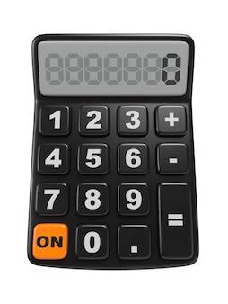 Czarny kalkulator 3d. na białym tle.