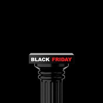 Czarny kamień klasyczne kolumny greckie z czarnym piątkowym znakiem na czarnym tle. renderowanie 3d