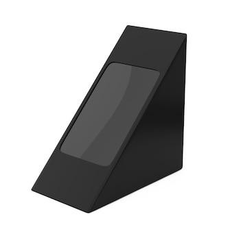 Czarny karton trójkątny paczka ospy na żywność, prezent lub inne produkty z pustego miejsca na swój projekt na białym tle. renderowanie 3d