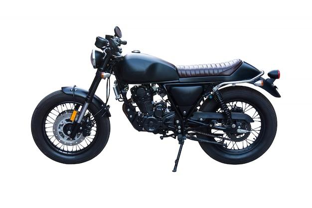 Czarny klasyczny motocykl na białym tle.