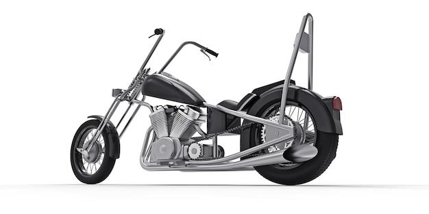 Czarny klasyczny motocykl niestandardowy na białym tle. renderowanie 3d.