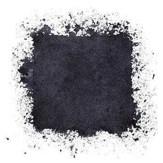 Czarny kwadrat z plamami farby. streszczenie tło grunge. miejsce na własny tekst. ilustracja rastrowa
