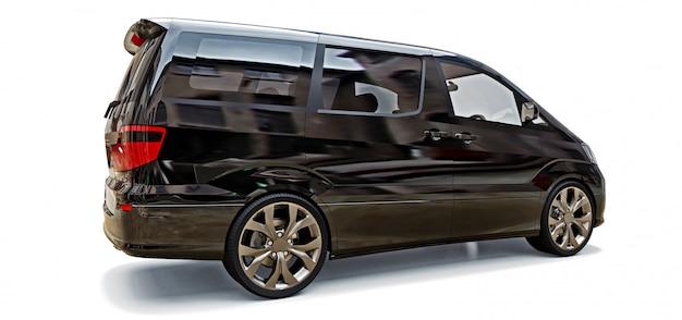 Czarny mały minivan do transportu osób. trójwymiarowa ilustracja na błyszczącej szarej przestrzeni. renderowania 3d.
