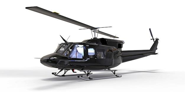 Czarny mały wojskowy helikopter transportowy na na białym tle. służba ratownicza śmigłowców. powietrzna taksówka. helikopter dla policji, straży pożarnej, pogotowia ratunkowego. ilustracja 3d.