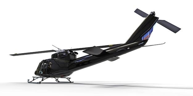 Czarny mały wojskowy przewieziony helikopter na białym odosobnionym tle