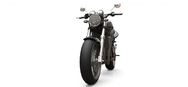 Czarny miejski sport dwumiejscowy motocykl na białym tle