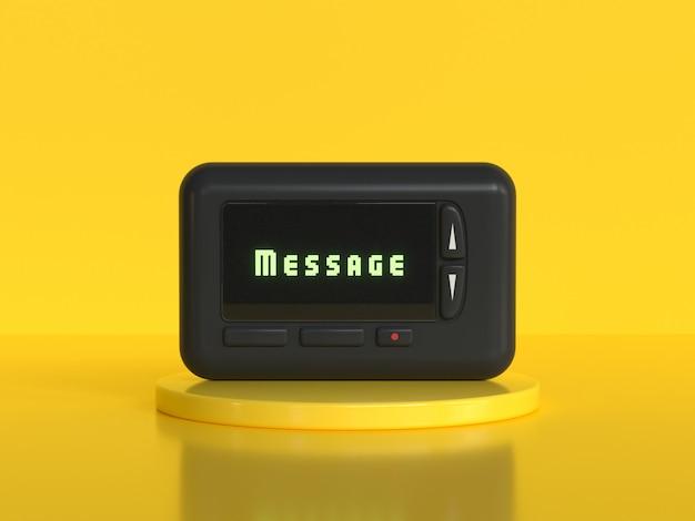 Czarny mobilny pager starej technologii koloru żółtego tło