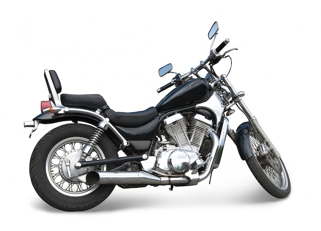 Czarny motocykl na białym tle