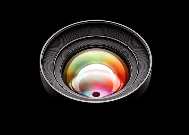 Czarny obiektyw aparatu z wielokolorowym obiektywem