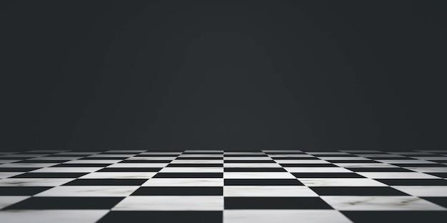 Czarny obszar szachownicy na ciemnym tle do dekoracji każdej konkurencji, takiej jak biznes i sport przez renderowanie 3d.
