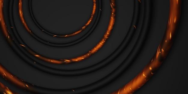 Czarny okrąg ramki tło czarne tło prosty luksus do wklejania tekstu ilustracja 3d