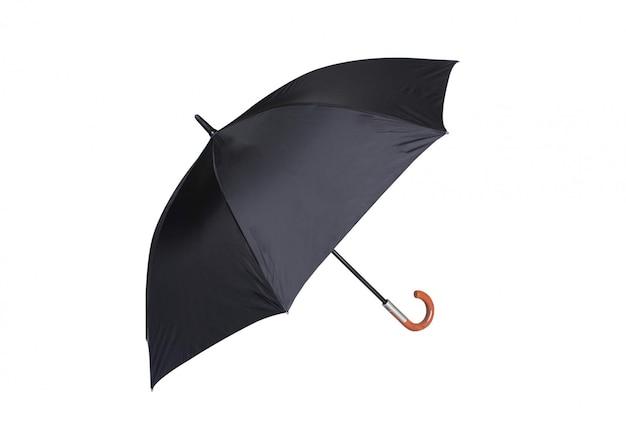 Czarny parasol do ochrony na białym tle