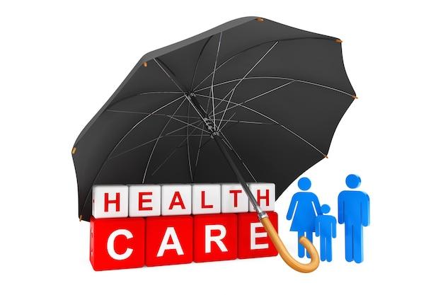 Czarny parasol obejmuje kostki opieki zdrowotnej z osobową rodziną na białym tle