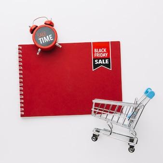 Czarny piątek notatnik makiety sprzedaż koncepcja