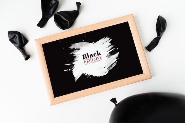 Czarny piątek ramki na zdjęcia z balonami