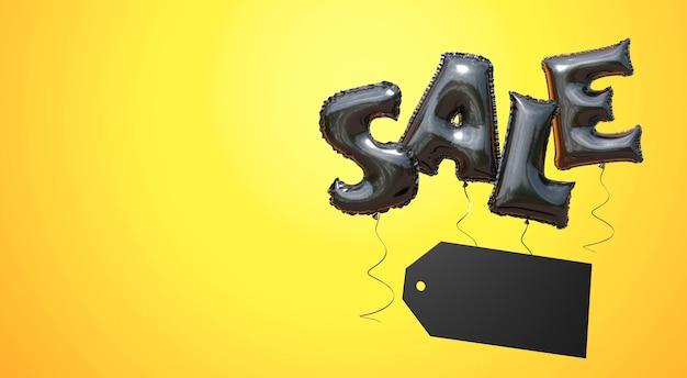 Czarny piątek słowo wyprzedaż z czarnych balonów na żółtym tle skopiuj miejsce na tekst