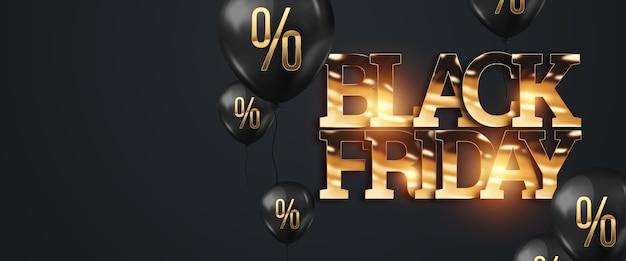Czarny piątek sprzedaż poziomy baner napis w kolorze złotym.