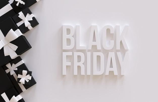 Czarny piątek sprzedaż składu renderowania 3d pudełko na prezent i biała ilustracja tekstu