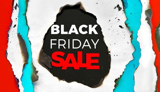 Czarny piątek sprzedaż tło. panoramiczna rama z wypalanego papieru z wypalonymi krawędziami.