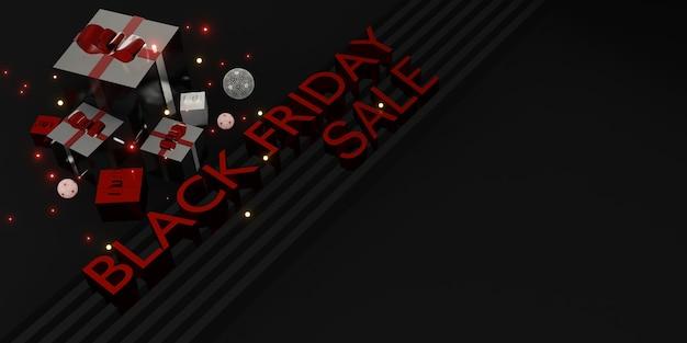 Czarny piątek sprzedaż w sklepie z banerami z prezentami i balonami ilustracja 3d