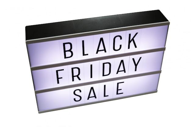 Czarny piątek sprzedaży lightbox odizolowywający na bielu