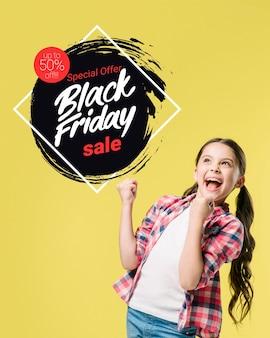 Czarny piątek transparent z dziewczyną
