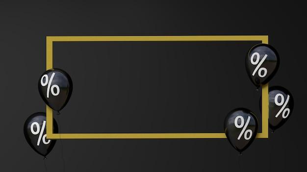 Czarny piątek wyprzedaż czarne balony z procentem i złotą ramką czarne tło renderowania 3d